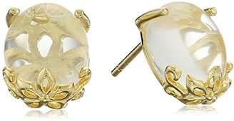 Gold Plated Quartz See-Through Flower Dangle Earrings