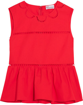 REDValentino - Embroidered Cotton Peplum Top - IT38 $395 thestylecure.com