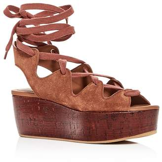 See by Chloe Women's Suede Lace Up Platform Wedge Sandals