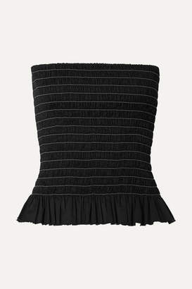 ATM Anthony Thomas Melillo Shirred Cotton-poplin Bustier Top - Black