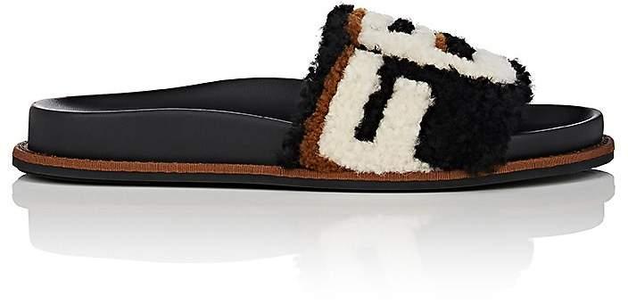 Fendi Women's Logo Shearling Slide Sandals