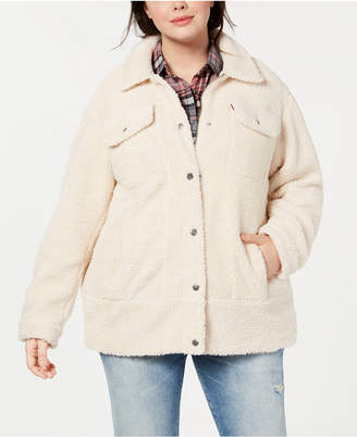 Levi's Plus Sized Long Line Sherpa Trucker Jacket
