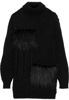 Simone Rocha Faux Fur-trimmed Alpaca-blend Turtleneck Sweater