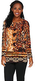 Susan Graver Printed Liquid Knit Tunic withKeyhole