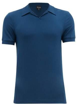 Giorgio Armani Open Collar Stretch Jersey Polo Shirt - Mens - Blue