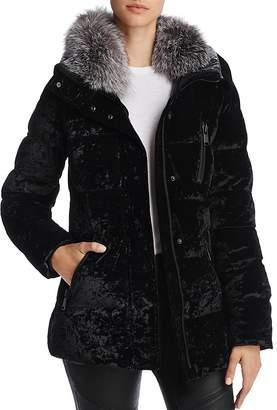 Andrew Marc Vara Fox Fur Trim Velvet Down Coat