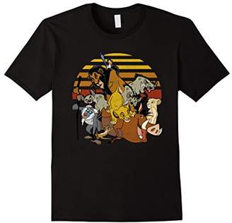 Disney Lion King Group Retro Stripe Sunset Vintage T-Shirt