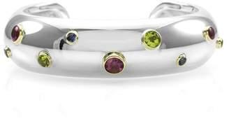 Tiffany & Co. Etoile Sterling Silver & 18K Yellow Gold Multi Gemstone Cuff Bracelet