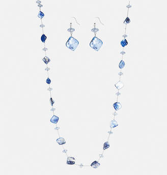 Avenue Blue Shell Necklace Earring Set