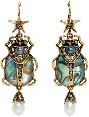 Alexander McQueen Purple and Gold Beetle Earrings