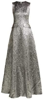 Rochas Metallic Wool Blend Jacquard Gown - Womens - Silver