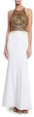 Badgley Mischka Beaded Halter Column Gown with Keyhole Back
