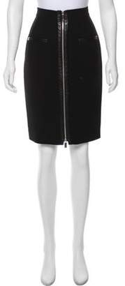 Barbara Bui Leather-Trimmed Pencil Skirt Black Leather-Trimmed Pencil Skirt