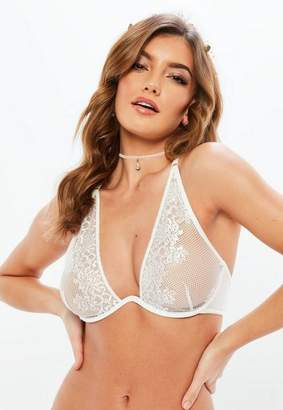 Missguided White Fishnet Lace Cross Back Underwired Soft Bra
