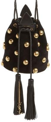 Saint Laurent Small Anja Studded Leather Bucket Bag