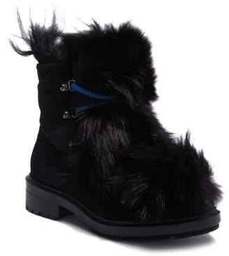 Aquatalia Lilana Waterproof Suede Genuine Shearling Lace Boot