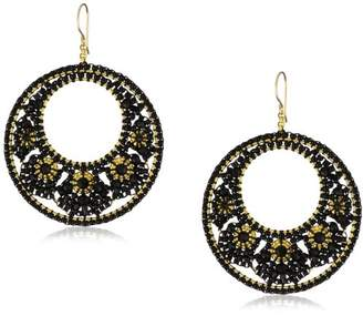 Miguel Ases Quartz Floral Cluster Round Drop Earrings