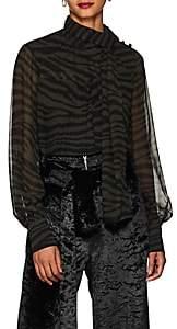 Proenza Schouler Women's Tiger-Pattern Silk Tieneck Blouse - Grn. Pat.