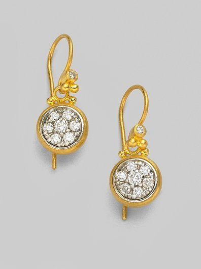 Gurhan White Diamond & 24K Yellow Gold Drop Earrings