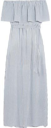 Alice + Olivia Alice Olivia - Grazi Off-the-shoulder Striped Poplin Maxi Dress - White $355 thestylecure.com