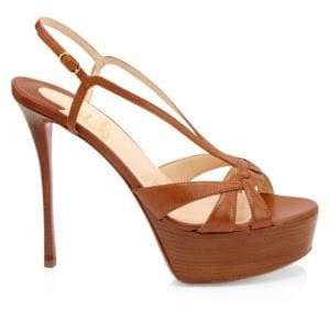Christian Louboutin Women's Veracité 130 Patent Leather Platform Sandals - Tan - Size 38 (8)
