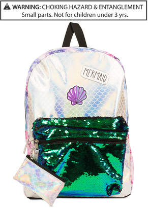Fab Little & Big Girls Reversible Sequins Mermaid Backpack & Coin Purse