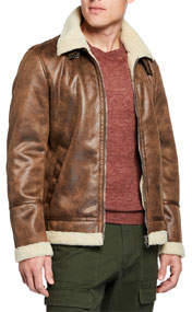 Men's Faux-Leather Buckled-Neck Jacket Brown