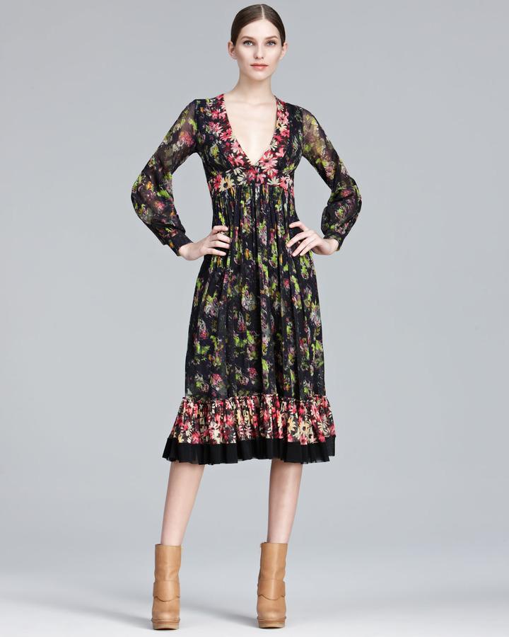 Jean Paul Gaultier Mixed-Print Long-Sleeve Dress