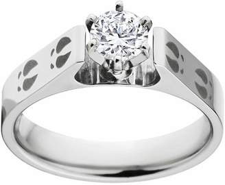 ONLINE 2 Carat T.G.W. Round CZ Cobalt Engagement Ring with 14k Gold Prong Setting and Lasered Deer Tracks