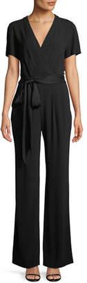 Diane von Furstenberg Purdy New Tie-Waist Wrap Jumpsuit