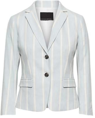 Banana Republic Fitted Crop Stretch Linen-Cotton Stripe Blazer