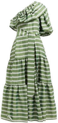 Lisa Marie Fernandez Arden One Shoulder Striped Satin Maxi Dress - Womens - Green White