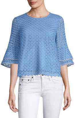 Draper James Gingham Lattice Bell-Sleeve Blouse
