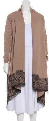 Valentino Lace-Trimmed Open Front Cardigan