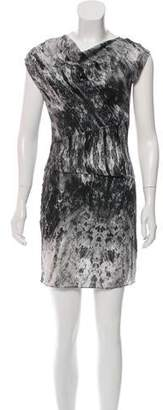 Helmut Lang Abstract Print Silk Dress