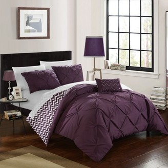 Chic Home 8-Piece Erin Pinch Pleated, REVERSIBLE Chevron Print ruffled and pleated complete Full/Queen Bed In a Bag Comforter Set Purple With sheet set