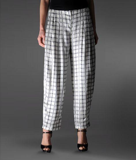 Emporio Armani High Waist Pants In Check Pattern Silk