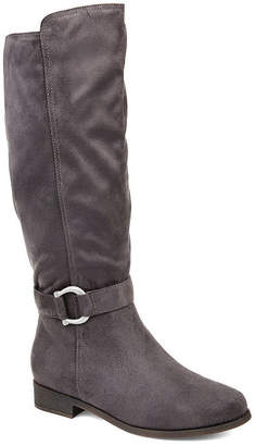 Journee Collection Womens Cate Extra Wide Calf Stacked Heel Zip Riding Boots