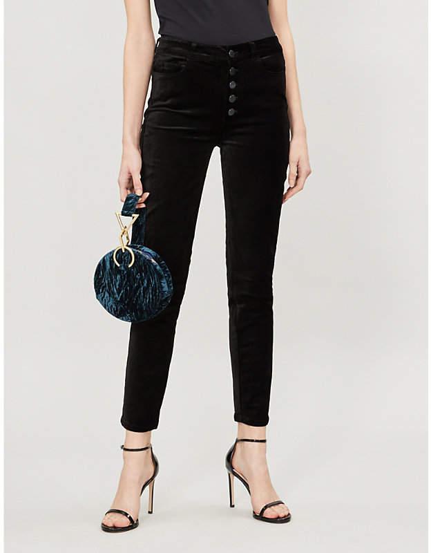 Paige Hoston Ankle Peg skinny high-rise velvet trousers