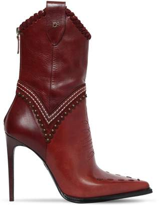 DSQUARED2 120mm Westerly Stitched Leather Boots