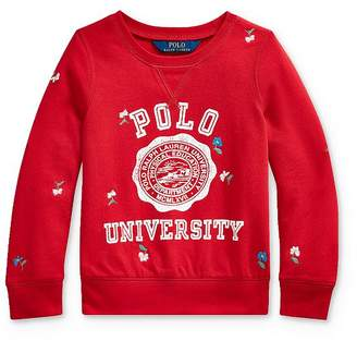 Ralph Lauren Girls' Embroidered Graphic Sweatshirt - Little Kid
