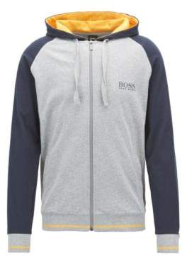 BOSS Hugo Loungewear jacket in pure cotton contrast raglan sleeves M Grey