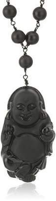 -Tone Matte Finish Onyx with Obsidian Carved Buddha Pendant Link Beads Necklace