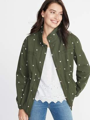Old Navy Embroidered Daisy-Print Field Jacket for Women