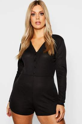 boohoo Plus Ribbed Button Detail PJ Romper