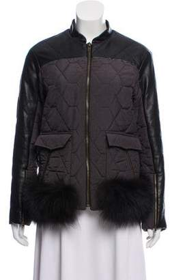 Timo Weiland Leather-Trimmed Short Coat