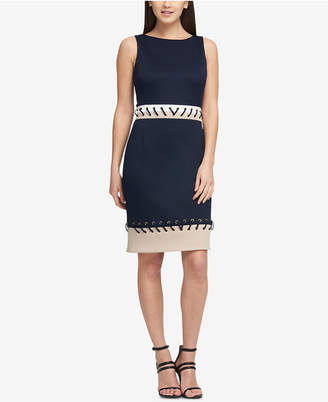 DKNY Stitched Grommet Scuba Dress