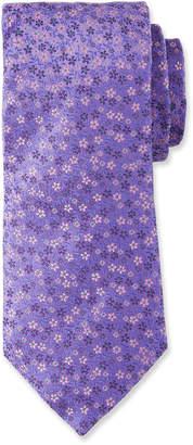 Duchamp Small Floral Pattern Silk Tie, Purple