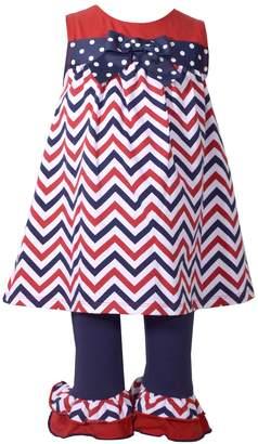 Bonnie Jean Toddler Girl Chevron Tunic & Ruffle Leggings Set
