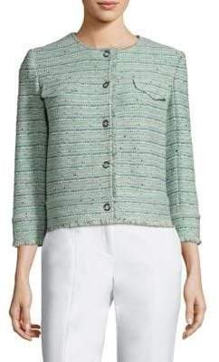 St. John Riana Multi Tweed Frayed Jacket